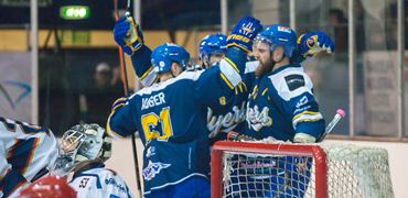 Fife Flyers ice hockey team celebrate a goal
